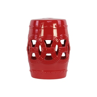 Ceramic Red Decorative Red Garden Stool