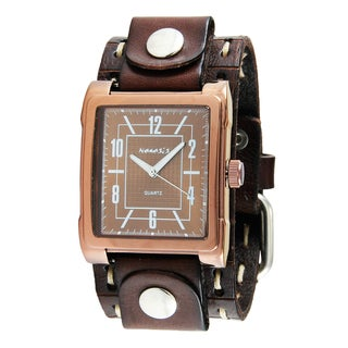 Nemesis Men's Single Stitched Brown Leather Cuff Chocolate Watch