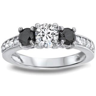 14k White Gold 1ct TDW Black/ White Diamond 3-stone Ring (G-H, I1-I2)