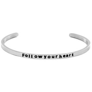 Stainless Steel 'Follow Your Heart' Cuff Bracelet