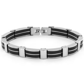 Stainless Steel Men's Black Rubber Inlay Bracelet