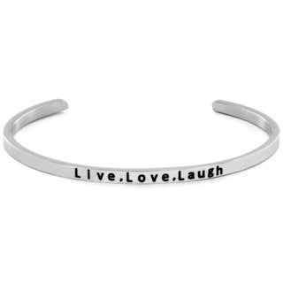 Stainless Steel 'Live.Love.Laugh' Cuff Bracelet
