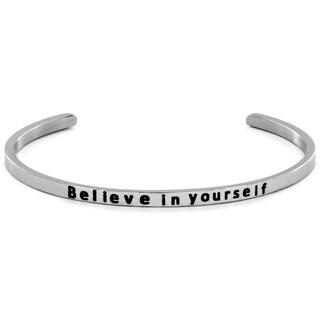 Stainless Steel 'Believe in Yourself' Cuff Bracelet