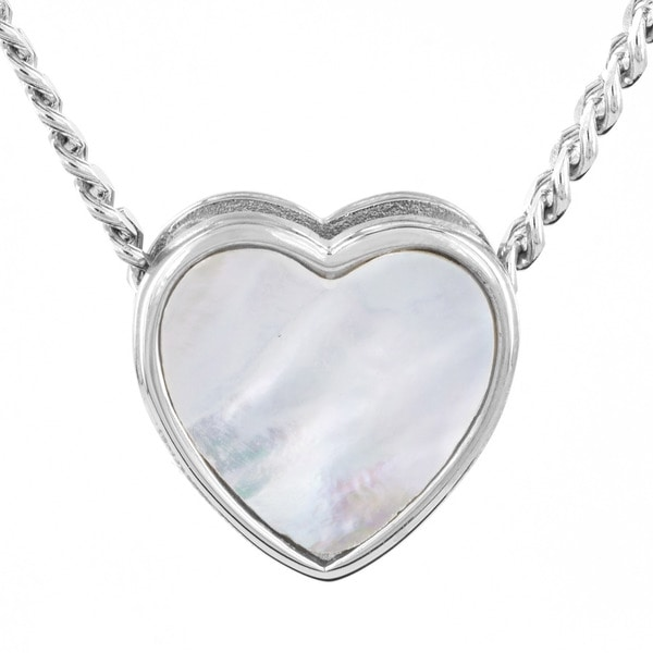 Stainless Steel Mother of Pearl Heart Inlay Slider Pendant Necklace