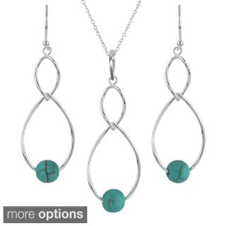 Sunstone Sterling Silver Gemstone Twist Dangle Earrings and Necklace Set