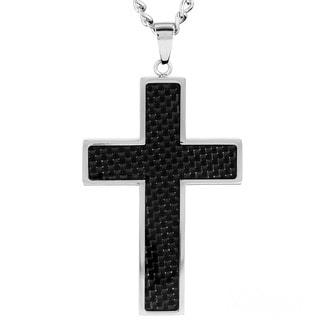 Stainless Steel Black Carbon Fiber Cross Pendant Necklace
