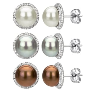 DaVonna Sterling Silver Brown Grey and White Pearl Earring Set (9-10 mm)