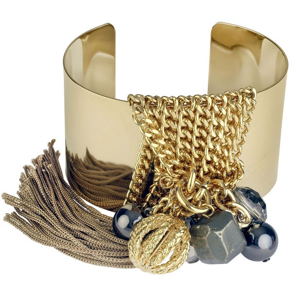 Roman Goldtone Metal Beaded Chain Tassel Cuff Statement Bracelet