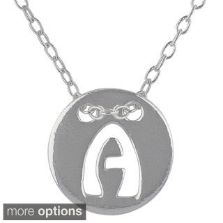 Sunstone Sterling Silver 18-inch Cut-out Initial Small Pendant Necklace