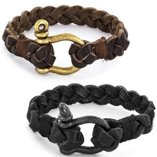 Crucible Braided Leather Buckle Clasp Bracelet