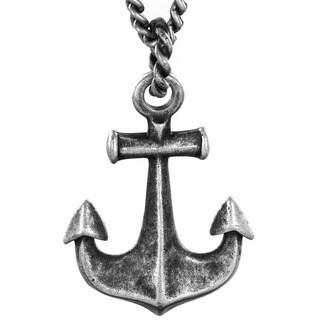 Crucible Antiqued Silvertone Anchor Pendant Necklace