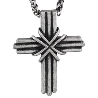Crucible Antiqued Grooved Cross Pendant Necklace