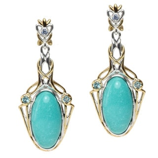 Michael Valitutti Two-tone Turquoise, Blue Topaz and Tanzanite Earrings