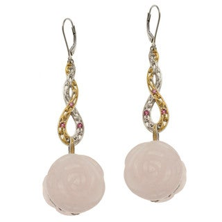 Michael Valitutti Two-tone Rose Quartz, Pink Tourmaline and Pink Sapphire 'Rose' Earrings