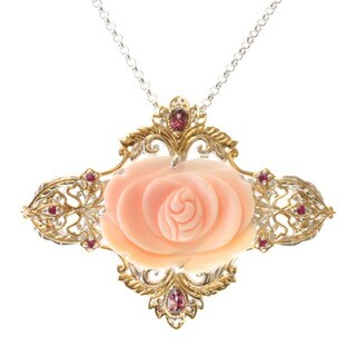 Michael Valitutti Two-tone Carved Conch Shell, Rhodolite and Pink Sapphire 'Flower' Necklace