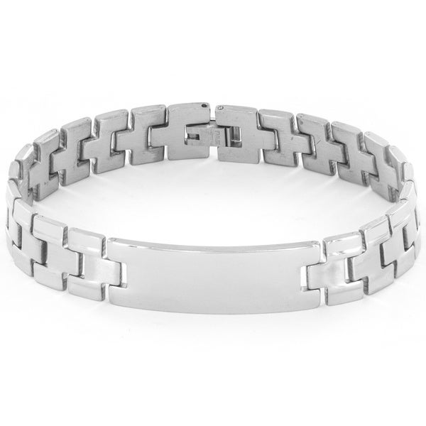 Stainless Steel Men's Dual Finished I.D. Link Bracelet