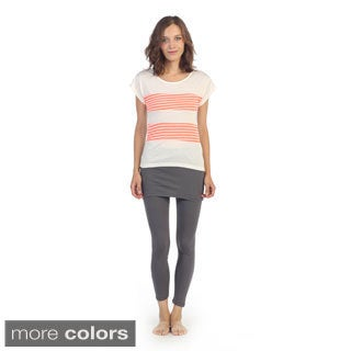 Hadari Women's Stripe Pattern Fitted Top