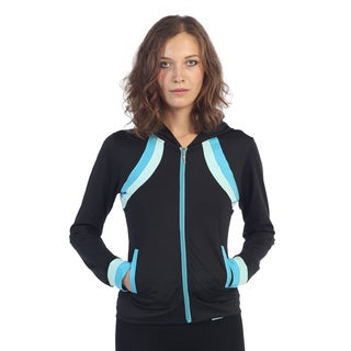 Hadari Women's Black and Blue Colorblocked Active Jacket