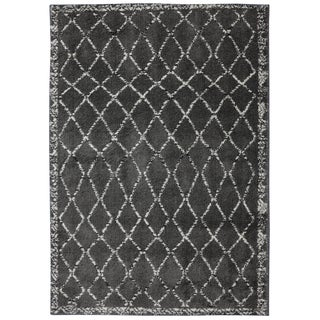Woven Stretched Lattice Grey Shag Rug (6'6 x 10')