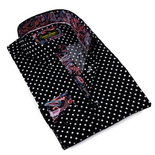 Banana Lemon Men's Black Patterned Button-down Shirt