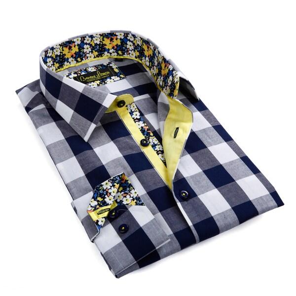Banana Lemon Men's Blue and White Gingham Button-down Shirt