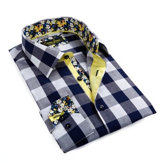 Banana Lemon Men's Blue and White Gingham Button-down Shirt