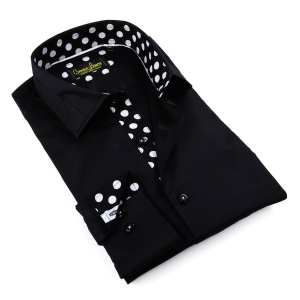 Banana Lemon Men's Black Contrast Collar Tab Button-down Shirt