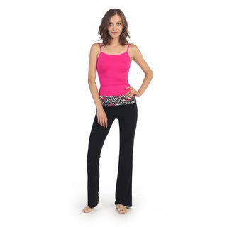 Hadari Women's Kiss-print Fold-over Waistband Yoga Pants