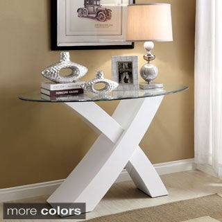 Furniture of America Cass Glass Accent Sofa Table