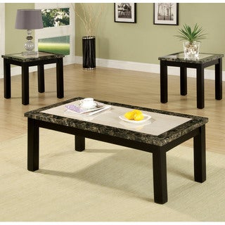 Furniture of America Finchley 3-Piece Faux Marble Top Accent Table Set