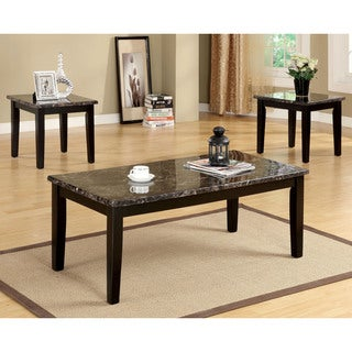 Furniture of America Dartford 3-Piece Faux Marble Top Accent Table Set