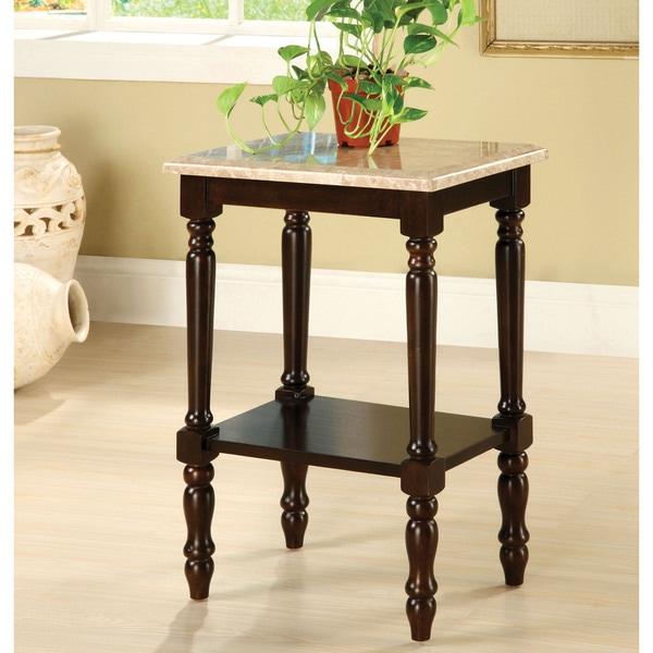 Furniture of America Arboreta Classic Marble Rectangular Top Side Table