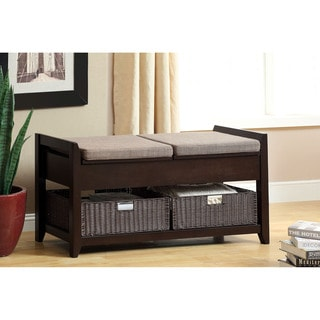 Furniture of America Basiten Modern Storage Bench with Under Seat Storage