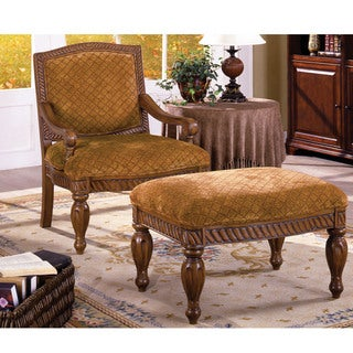 Furniture of America Carmilla 2-Piece Accent Chair and Ottoman Set