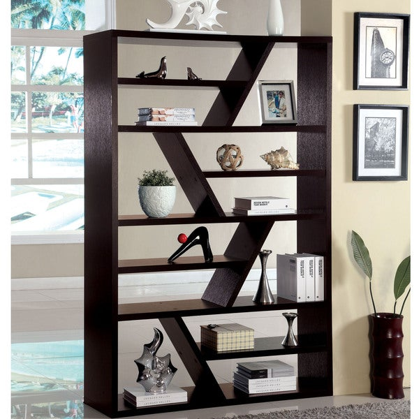 Furniture of america emize espresso open display shelf for Furniture of america nara contemporary 6 shelf tiered open bookcase