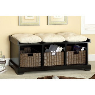 Furniture of America Laurissa Modern 3-Basket Storage Bench