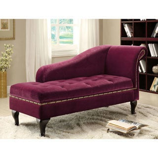 Furniture of America Bizanthe Modern Button Tufted Storage Chaise