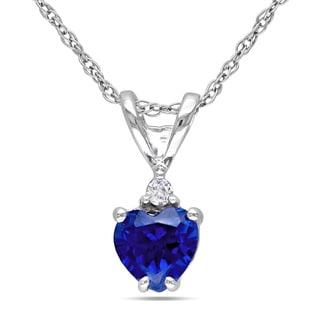 Miadora 10k White Gold Created Blue Sapphire and Diamond Accent Heart Necklace