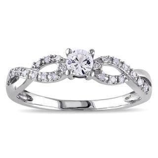Miadora 10k White Gold Created White Sapphire and 1/10ct TDW Diamond Ring (H-I, I2-I3)