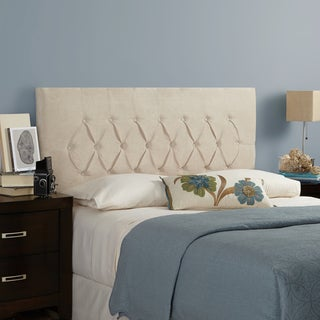 Humble + Haute Hampton Velvet Ivory Queen Diamond Tufted Upholstered Headboard