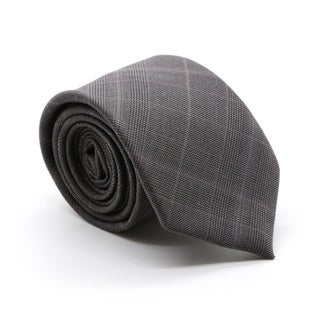 Zonettie by Ferrecci Lazio Charcoal Plaid Slim Necktie and Pocket Square Set