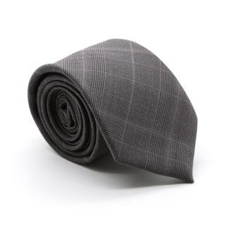Zonettie by Ferrecci Lazio Charcoal Plaid Slim Necktie and Pocket Square Set