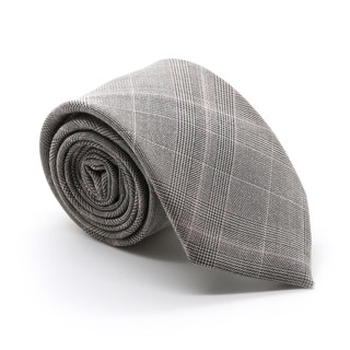 Zonettie by Ferrecci Lazio Taupe/ Grey Plaid Slim Necktie and Pocket Square Set