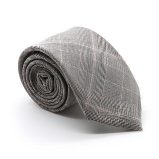 Zonettie by Ferrecci Lazio Taupe/ Grey Plaid Slim Necktie and Pocket Square Set