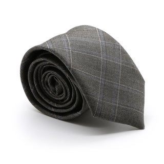 Zonettie by Ferrecci Hamilton Charcoal Plaid Slim Necktie and Pocket Square Set