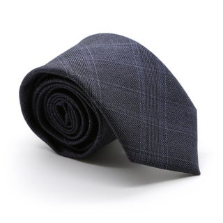 Zonettie by Ferrecci Hamilton Navy Plaid Slim Necktie and Pocket Square Set