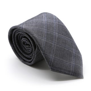 Zonettie by Ferrecci Hamilton Grey and Blue Plaid Necktie and Pocket Square