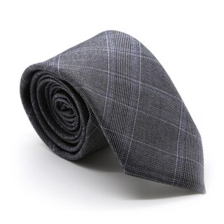 Zonettie by Ferrecci Hamilton Grey and Blue Plaid Necktie and Pocket Square