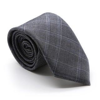 Zonettie by Ferrecci Hamilton Grey and Blue Plaid Necktie and Pocket Square Set