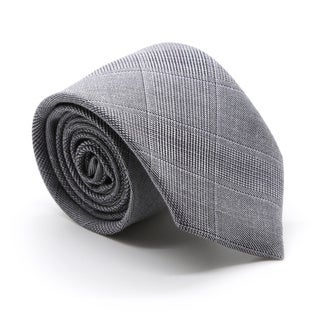 Zonettie by Ferrecci Zillo Grey Plaid Slim Necktie and Pocket Square Set